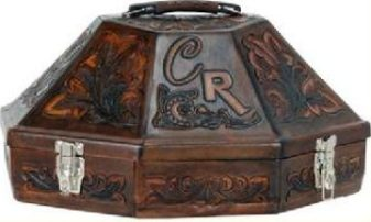 Fully Tooled Hat Can in Antique Leather - Call for pricing